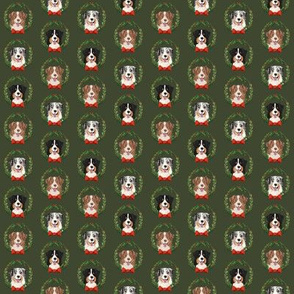 SMALL - Aussie  christmas fabric - cute dogs wreath design