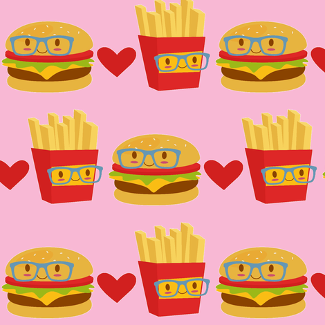 Smart Burger and Fries on Pink fabric by sunshineandspoons on Spoonflower - custom fabric
