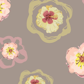 Spring Flower Party - Warm Gray Background
