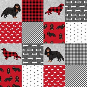 "2"" squares - cavalier king charles spaniel black and tan pet quilt a collection cheater quilt"