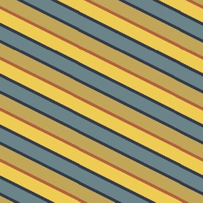 Bayeux Scalloped Diagonal Stripes in Bluegray Buff Yellow and Terra Cotta