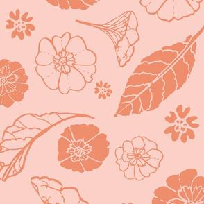 Tossed Primula Flowers - Peach