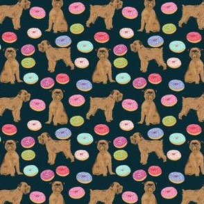 SMALL - brussels griffon navy blue pet dogs fabric cute dogs design donuts cute food
