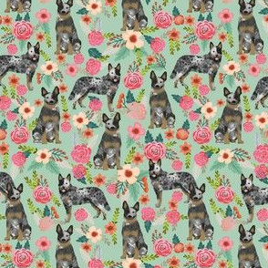 SMALL - Australian Cattle Dog florals mint