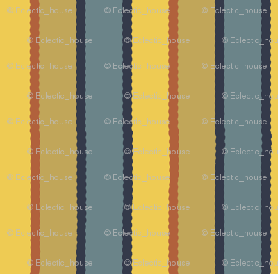 Bayeux Scalloped Stripes in Bluegray Buff Yellow and Terra Cotta