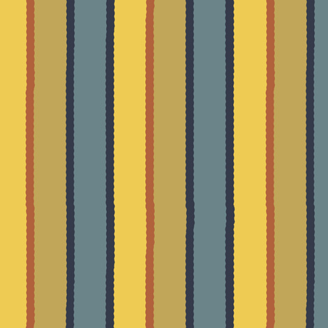Bayeux Scalloped Stripes in Bluegray Buff Yellow and Terra Cotta fabric by eclectic_house on Spoonflower - custom fabric