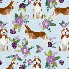 husky dog fabric - blue and purple florals design - pet quilt c