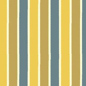Bayeux Scalloped Stripes in Bluegray Buff and Yellow