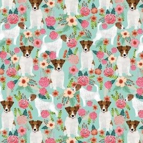 SMALL - Jack Russell floral fabric - cute dog and flowers design
