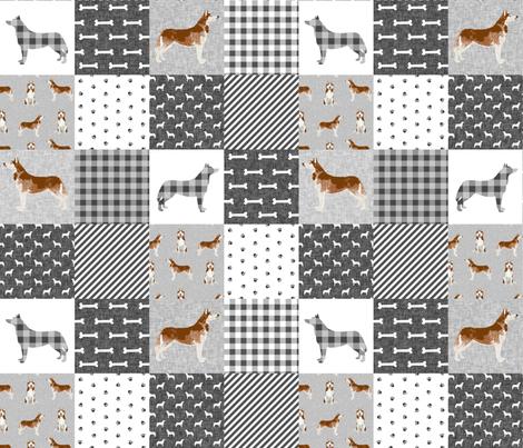 husky dog fabric - cheater fabric - black and grey buffalo plaid grey design - pet quilt e fabric by petfriendly on Spoonflower - custom fabric