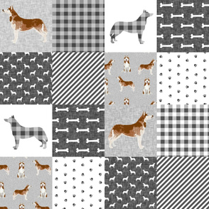 husky dog fabric - cheater fabric - black and grey buffalo plaid grey design - pet quilt e