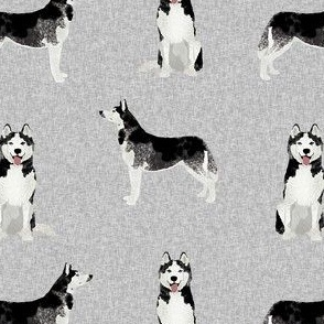 husky dog fabric - grey design - pet quilt e
