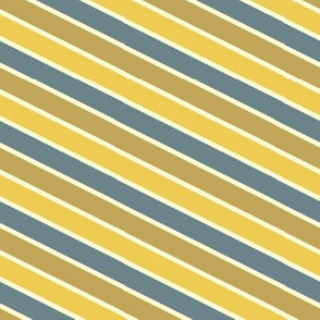 Bayeux Scalloped Diagonal Stripes in Bluegray Buff and Yellow
