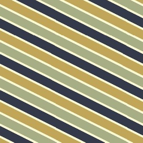 Bayeux Scalloped Diagonal Stripes in Navy Greengray and Buff