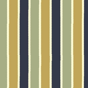 Bayeux Scalloped Stripes in Navy Greengray and Buff