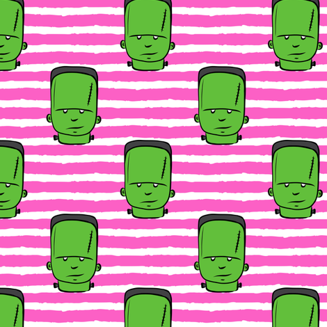 frankenstein on pink stripes - halloween fabric fabric by littlearrowdesign on Spoonflower - custom fabric