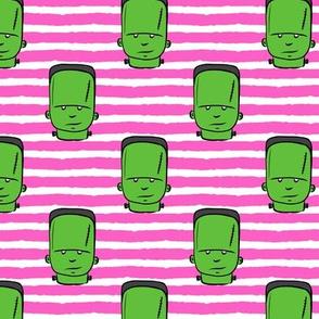 frankenstein on pink stripes - halloween fabric