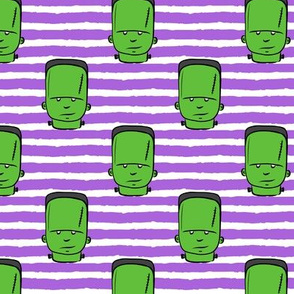 frankenstein on purple stripes - halloween fabric