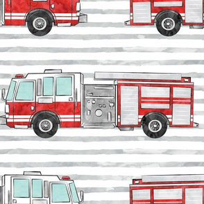 (jumbo scale) watercolor firetruck on stripes