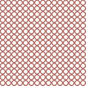 Round N Round: Candy Apple Red & Cream Circle Grid