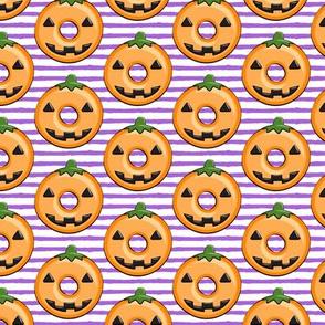 pumpkin donuts on purple stripes