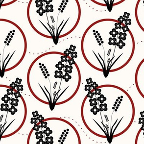 Ring Around the Posies: Black & Candy Apple Red Floral