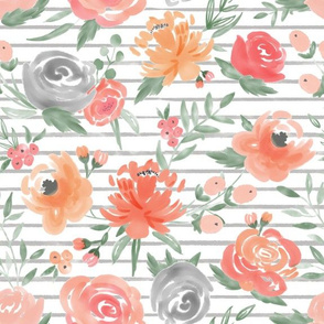 """""""Sunset"""" Watercolor Floral w/ Med Gray Stripes"""