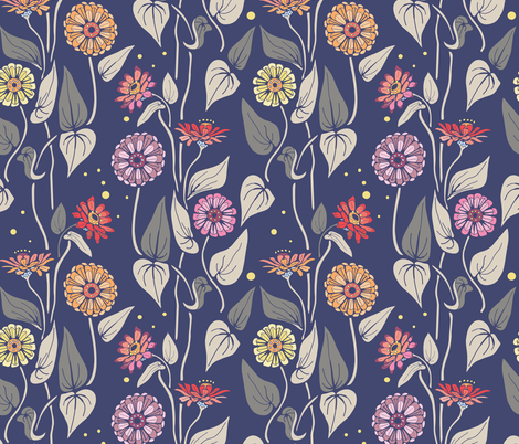 Zinnias in the night garden fabric by katie_hayes on Spoonflower - custom fabric