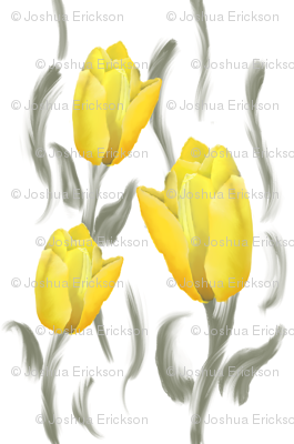 Grey and Yellow Tulip Digital Hand drawn