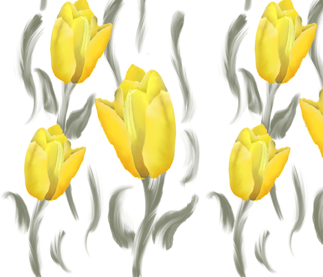 Grey and Yellow Tulip Digital Hand drawn fabric by introverted_intuition on Spoonflower - custom fabric