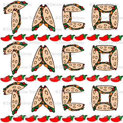 Taco Peppers Border on White