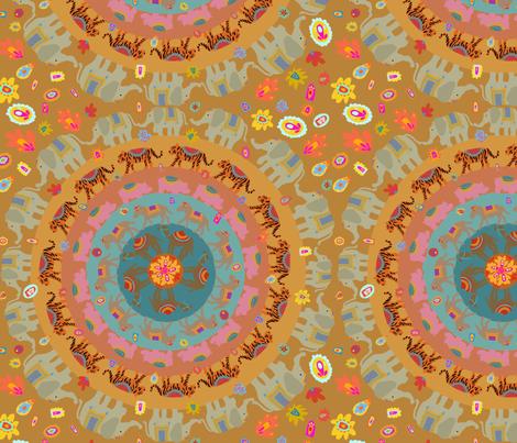 Boho Animal circle fabric by the_gipsy_stitch on Spoonflower - custom fabric