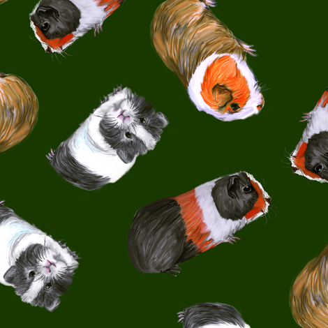 3 Guinea Pigs on Christmas Green fabric by eclectic_house on Spoonflower - custom fabric