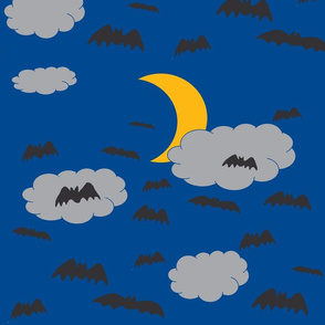 Halloween Bats on Night Sky Dark