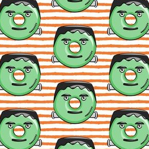frankenstein donuts on orange  stripes - halloween fabric