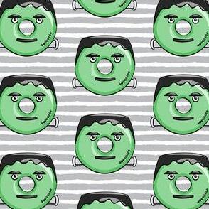 Frankenstein donuts on grey stripes - halloween fabric