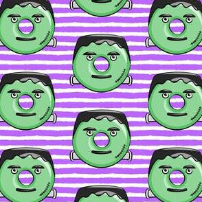 frankenstein donuts on purple stripes - halloween fabric
