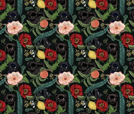 Botanical_and_black_pugs_8x8_shop_preview