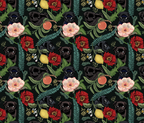 Botanical and Black Pugs fabric by huebucket on Spoonflower - custom fabric
