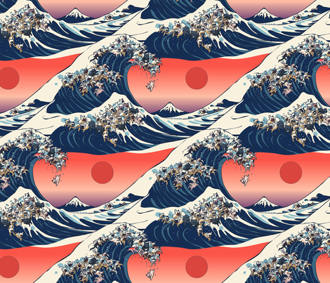 The Great Wave Of French Bulldog fabric by huebucket on Spoonflower - custom fabric