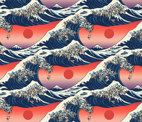 The Great Wave of Pugs fabric by huebucket on Spoonflower - custom fabric