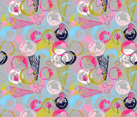 Sweet Circles of Sorbet (silver)  fabric by helenpdesigns on Spoonflower - custom fabric