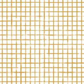 Gold Grid Watercolor Plaid (mustard, dark yellow)