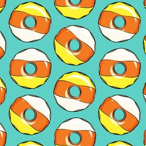 candy corn donuts - halloween donuts teal