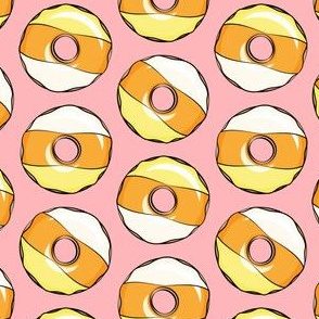 candy corn donuts - halloween donuts pink