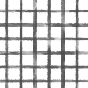 Large Scale Charcoal Gray Grid Watercolor