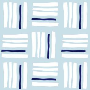 Ichimatsu×stripes_Ice blue & Navy