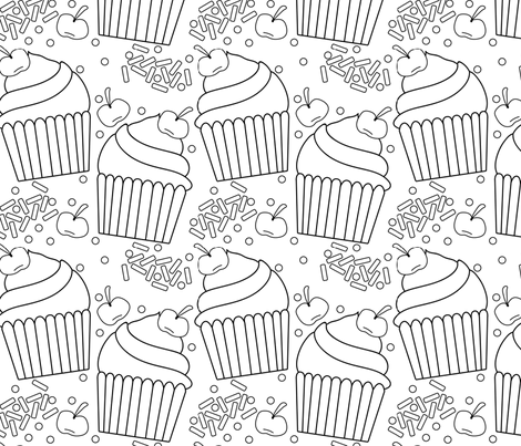 Swirly Cupcakes with Sprinkles fabric by rocketandtrid on Spoonflower - custom fabric