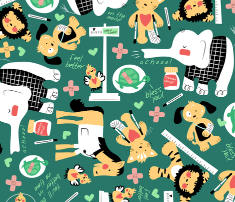 On The Mend  - Medical Green fabric by sarah_treu on Spoonflower - custom fabric