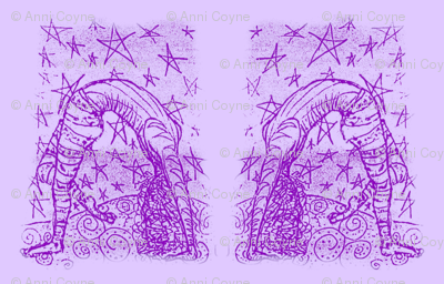 Acrobatty Night moves Print-violet on lilac